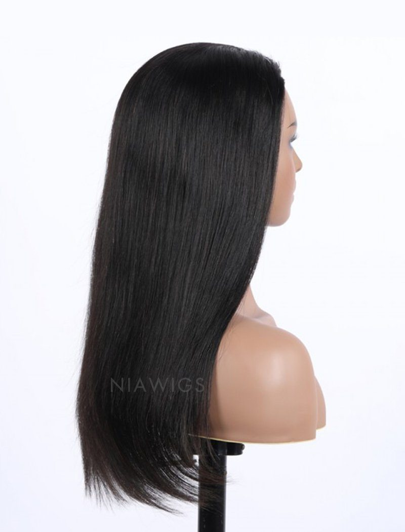 Load image into Gallery viewer, Silky Straight Human Hair 150% Density Stock Wig 3/4 Half Machine Made Wigs