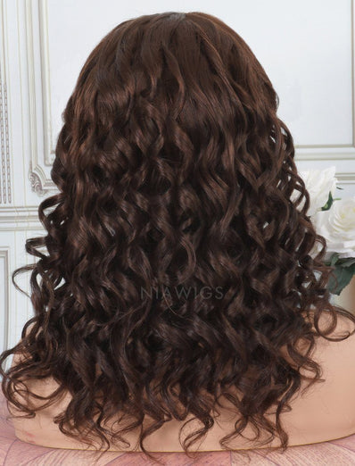 Headband Wig Loose Wave Human Hair Machine Made Wigs #4 Medium Brown