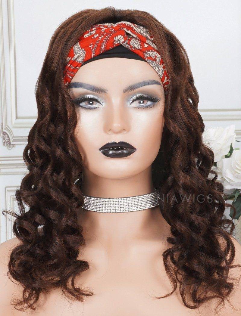 Load image into Gallery viewer, Headband Wig Loose Wave Human Hair Machine Made Wigs #4 Medium Brown