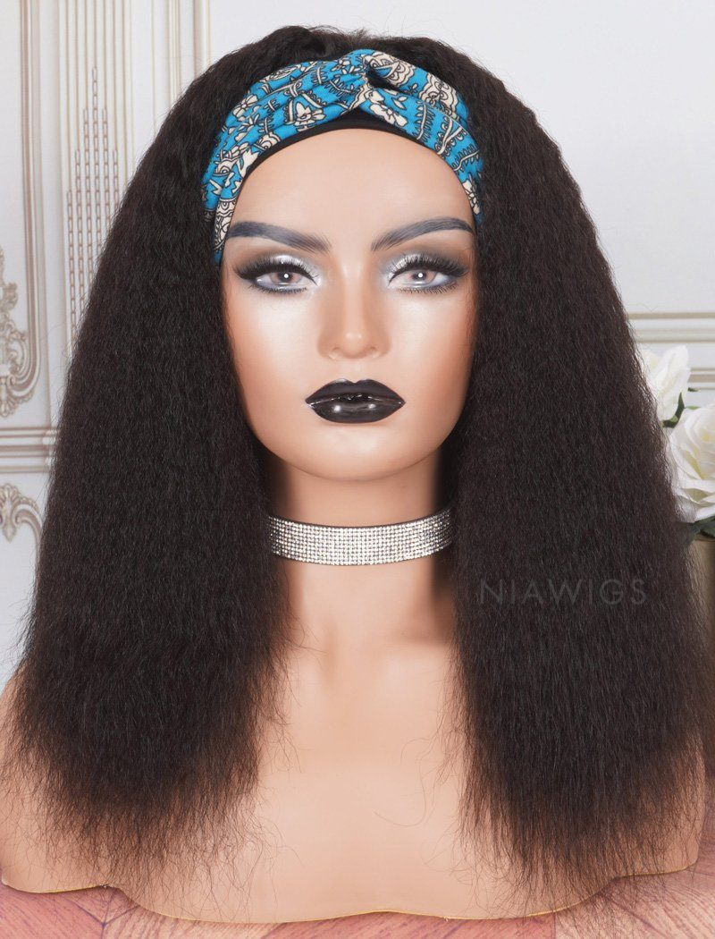 Headband Wig Kinky Straight Human Hair Wigs(5 Pieces Free Trendy Headbands)