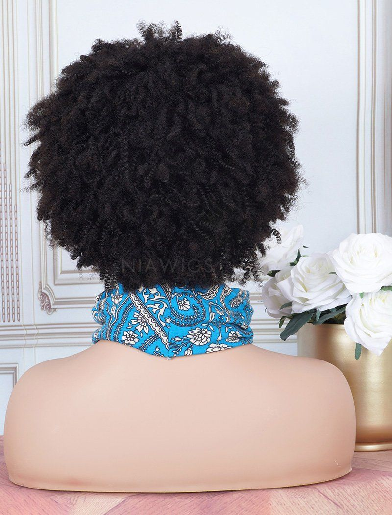 Load image into Gallery viewer, Head Band Wig Afro Kinky Curls Human Hair Machine Made Wigs