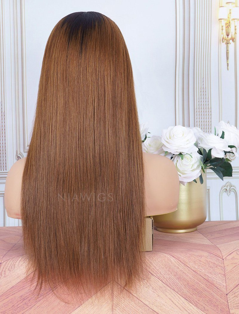 Dark Roots Ombre #4 Brown Headband Wig Human Hair Wigs (WITH ONE FREE TRENDY HEADBAND)