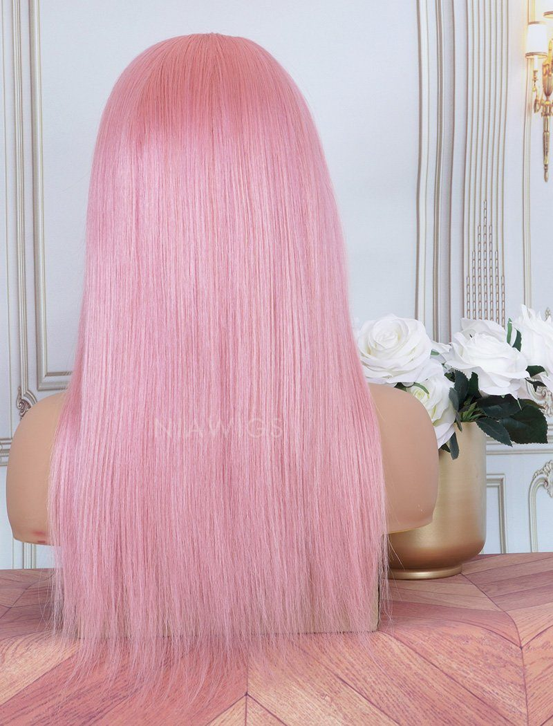 Pink Headband Wig Human Hair Wigs (WITH ONE FREE TRENDY HEADBAND)
