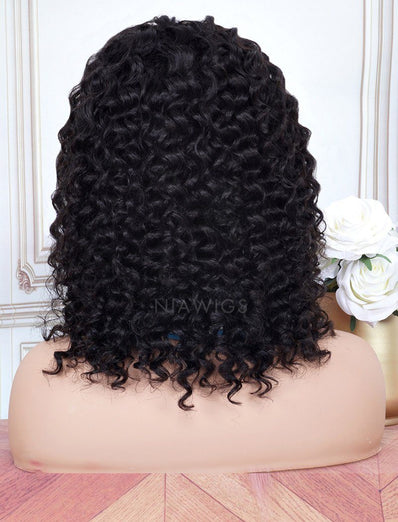Head Band Wig Tight Curly Human Hair Machine Made Wigs