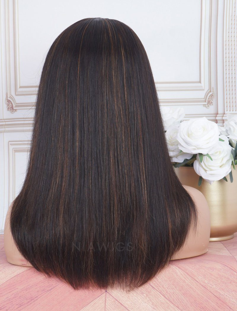 Load image into Gallery viewer, Highlight Brown Color Mixed Headband Wig Human Hair Machine Made Wigs