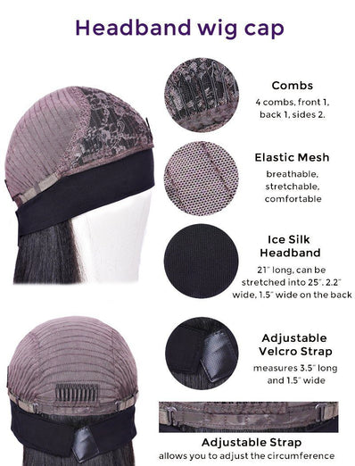 #1b/4 Headband Wig Human Hair 4C Kinky Curly Machine Made Wigs