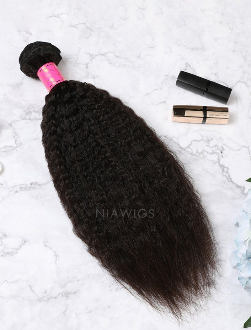 Hair Weft With Lace Closure Natural Color Brazilian Kinky Straight Human Hair