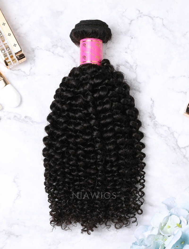 Weft Bundles Natural Color Brazilian Kinky Curly Human Hair