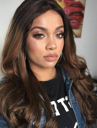 Adele||Remy Hair Lace Front Wig 16 Inches Black Roots&Medium Auburn