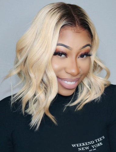 Anna||Remy Hair 12 Inches Lace Front Wig Brown Roots&Honey Blonde