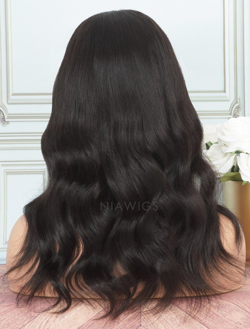 Natural Wavy Human Hair Skin Base Lace Front Wigs