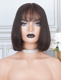 Load image into Gallery viewer, Silky Straight Bob Cut Human Hair Skin Base Lace Front Wigs With Bangs