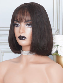Silky Straight Bob Cut Human Hair Skin Base Lace Front Wigs With Bangs