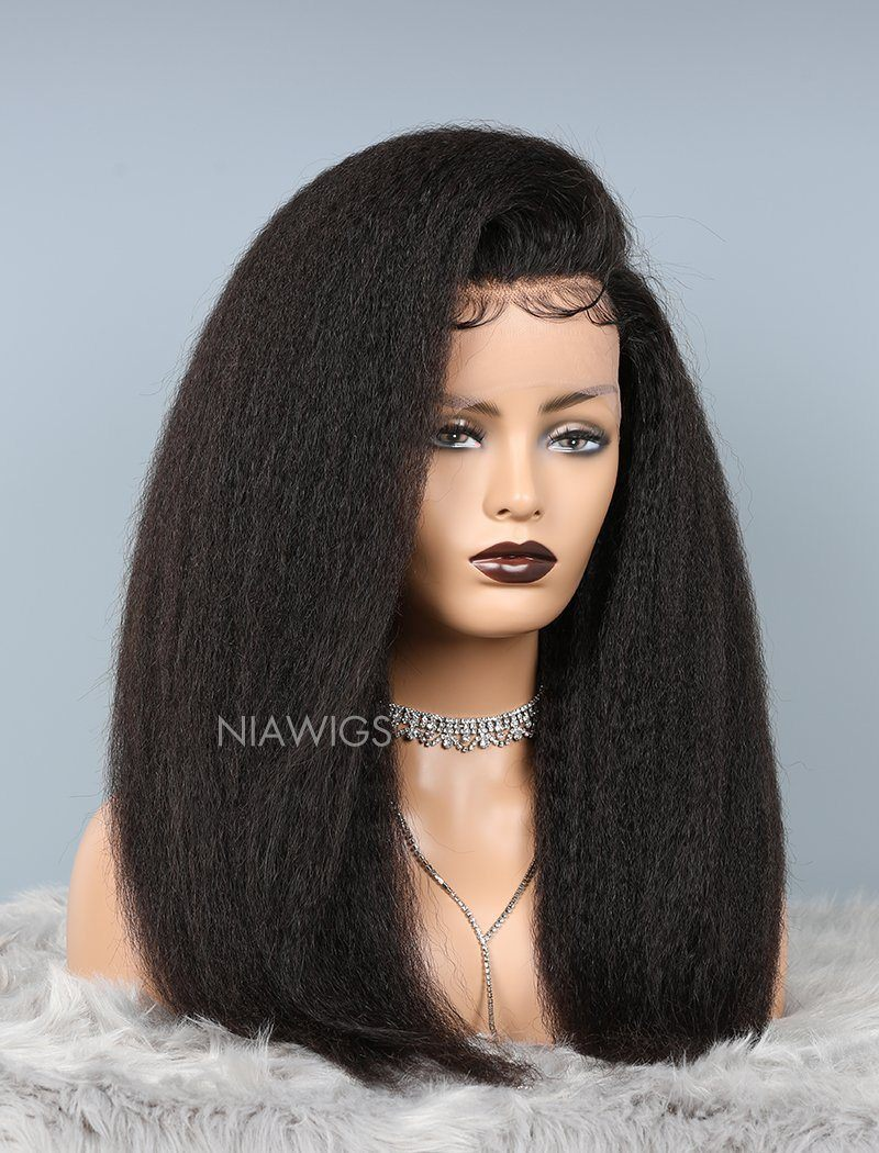 Kinky Straight Glueless Full Stretchable Wig Thicker Human Hair Wigs