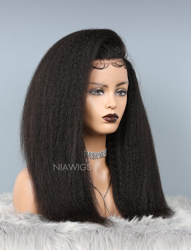 Kinky Straight Glueless Full Lace Wig Thicker Human Hair Wigs