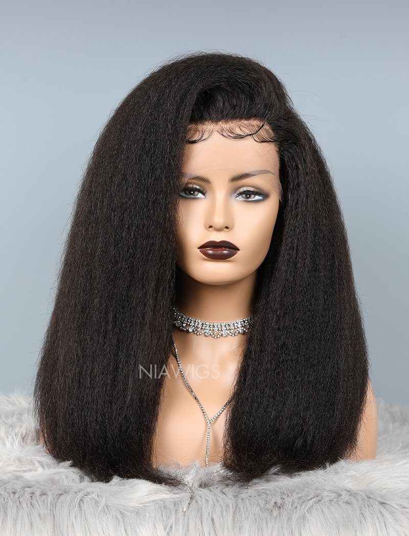 Load image into Gallery viewer, Kinky Straight Glueless Full Stretchable Wig Thicker Human Hair Wigs