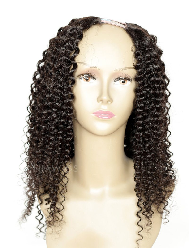 Load image into Gallery viewer, Kinky Curly U Part Human Hair Wigs With Middle Part Opening