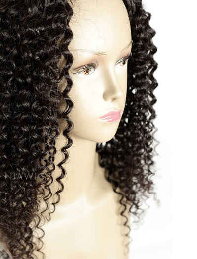 Kinky Curly U Part Human Hair Wigs With Middle Part Opening