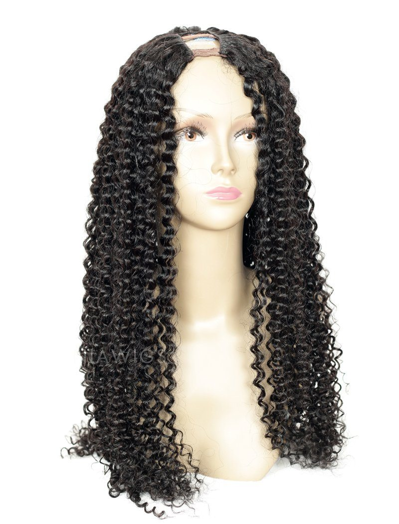 Kinky Curly Uparting Human Hair Wigs With Middle Part Opening