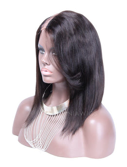 Bob Straight U Part Human Hair Wigs With Side Part Bangs