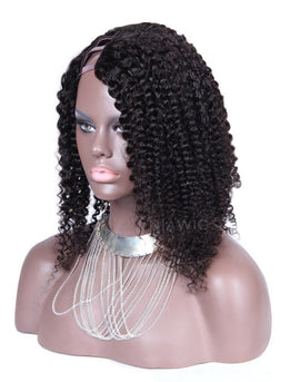 Afro Kinky Curly Human Hair Upart Wigs With Right Opening Part