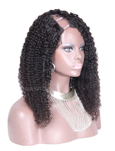 Kinky Curly U Part Human Hair Wigs With Right Part Opening