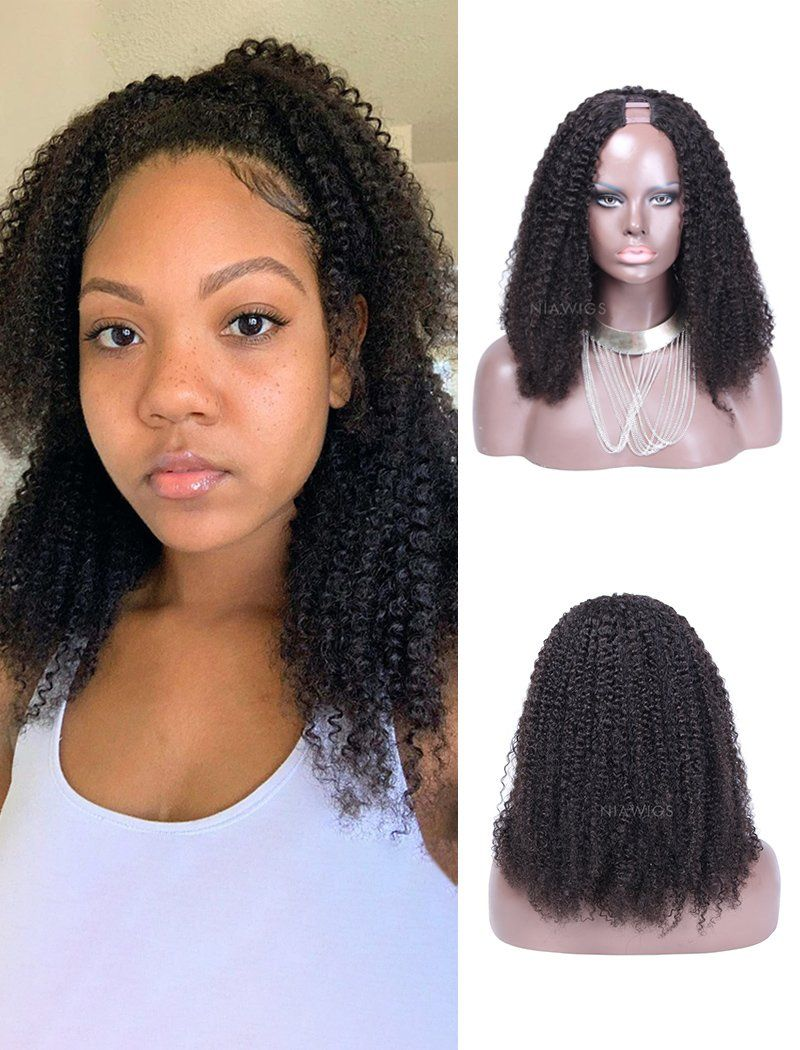 2020 Hot Selling Afro Kinky Curly Human Hair Upart Wigs