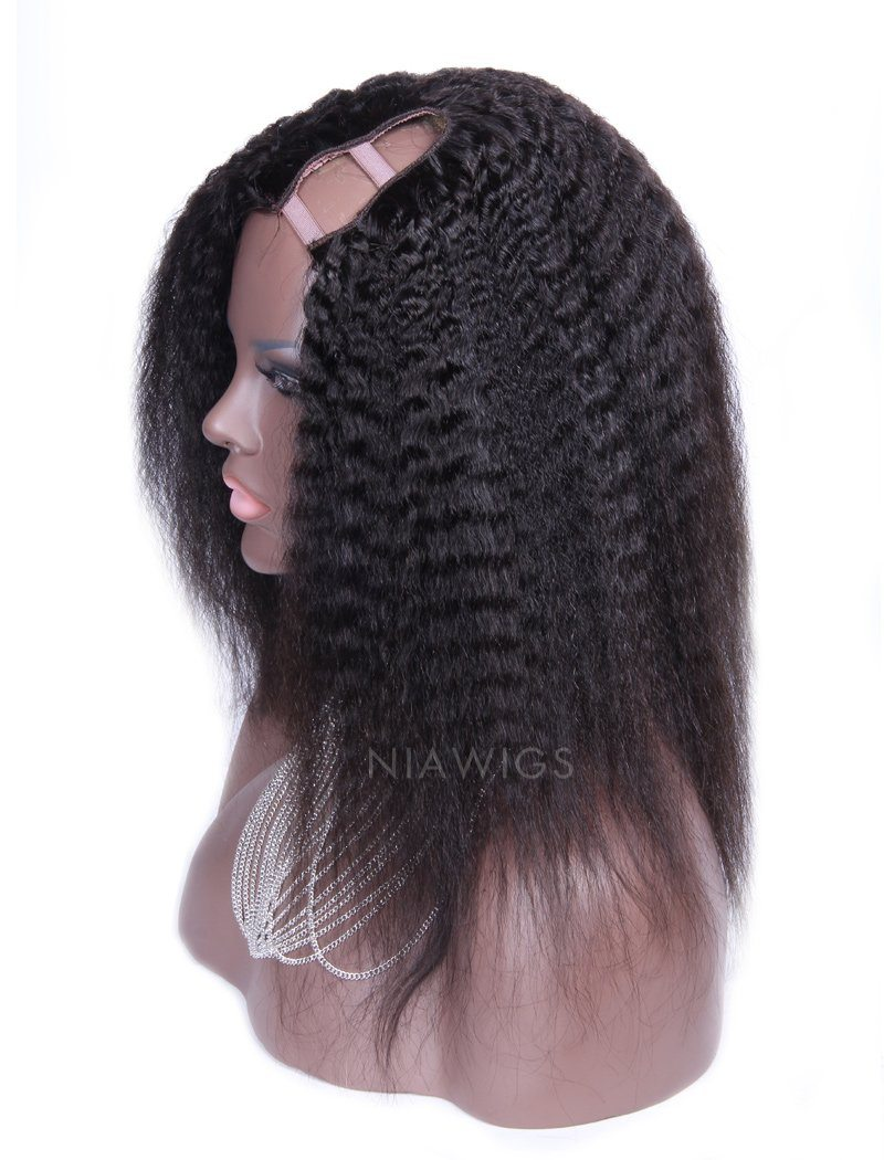 Kinky Straight U Part Human Hair Wig Middle Parting Upart Wigs
