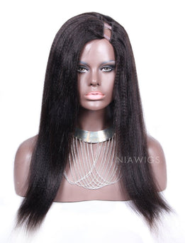 Yaki Straight U Part Human Hair Wig Left Part Opening Upart Wigs