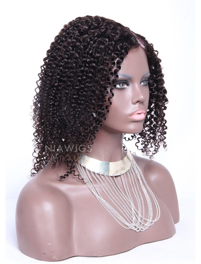 Load image into Gallery viewer, Kinky Curly Upart Wigs #2 Darkest Brown Human Hair Wig With Left Part Opening