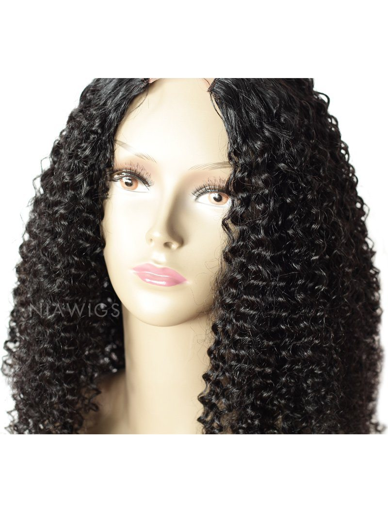 Load image into Gallery viewer, #1 Jet Black U Part Human Hair Wig Kinky Curly Upart Wigs