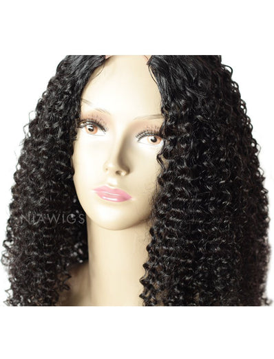 #1 Jet Black U Part Human Hair Wig Kinky Curly Upart Wigs