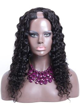Curly U Part Human Hair Wig Natural Black Upart Wigs