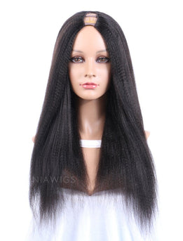 Yaki Straight U Part Human Hair Wigs With Natural Color