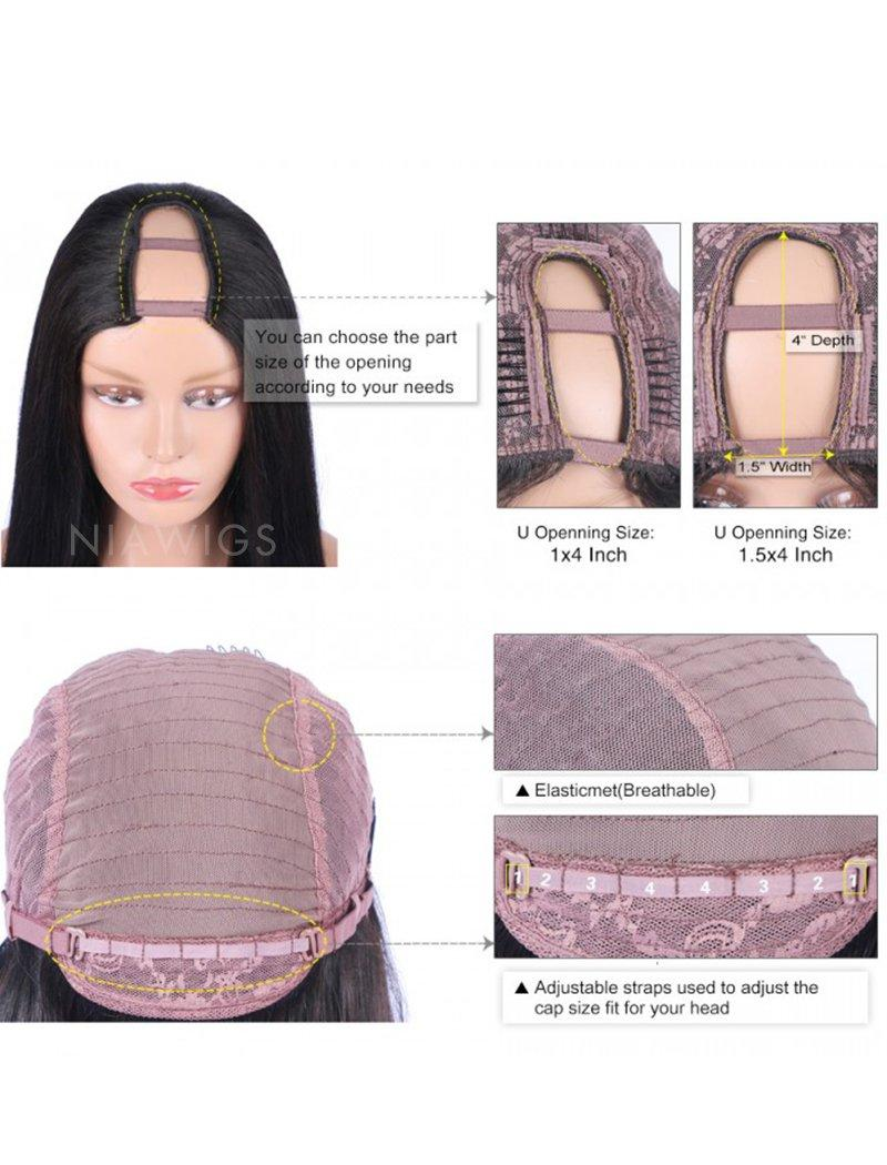 Load image into Gallery viewer, Kinky Straight U Part Human Hair Wig Middle Parting Upart Wigs