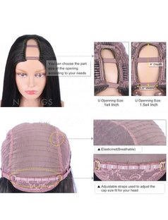 Load image into Gallery viewer, Silky Straight U Part Human Hair Wig Natural Black Upart Wigs