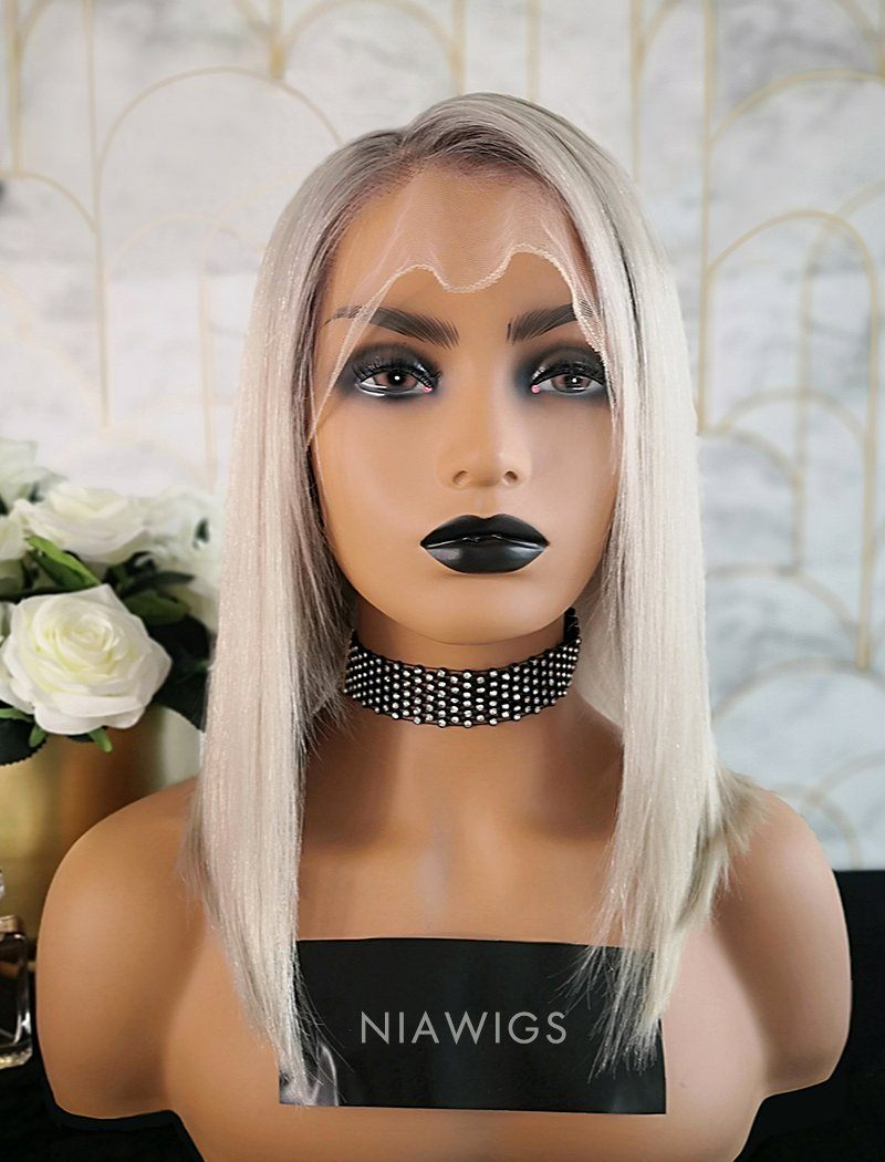Gabrielle Virgin Hair 14 Inches Glueless Full Lace Wig Black Roots&Gray Base