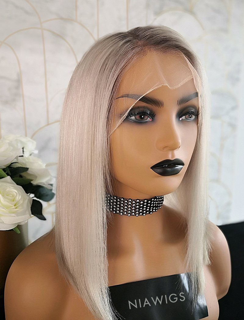 Gabrielle | Virgin Hair 14 Inches Glueless Full Lace Wig Black Roots&Gray Base
