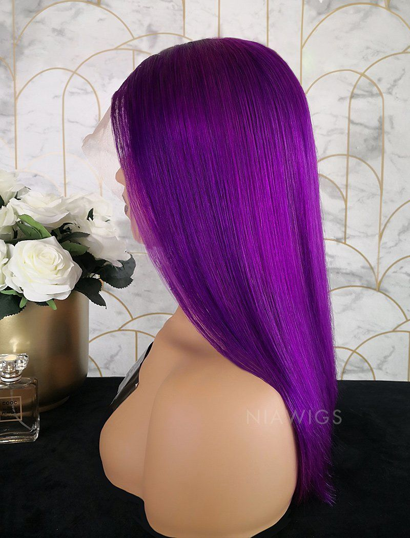 Paulina Remy Hair 16 Inches Glueless Full Lace Wig Bright Purple