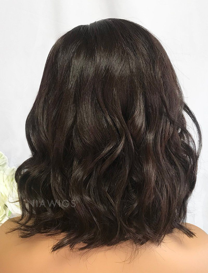 Edith Virgin Hair 12 Inches Lace Front Wig #2 Dark Brown Hair Color