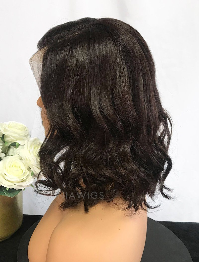 Load image into Gallery viewer, Edith | Virgin Hair 12 Inches Lace Front Wig #2 Dark Brown Hair Color