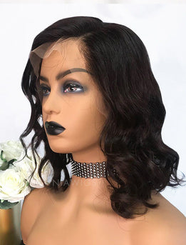 Edith||Virgin Hair 12 Inches Lace Front Wig #2 Dark Brown Hair Color