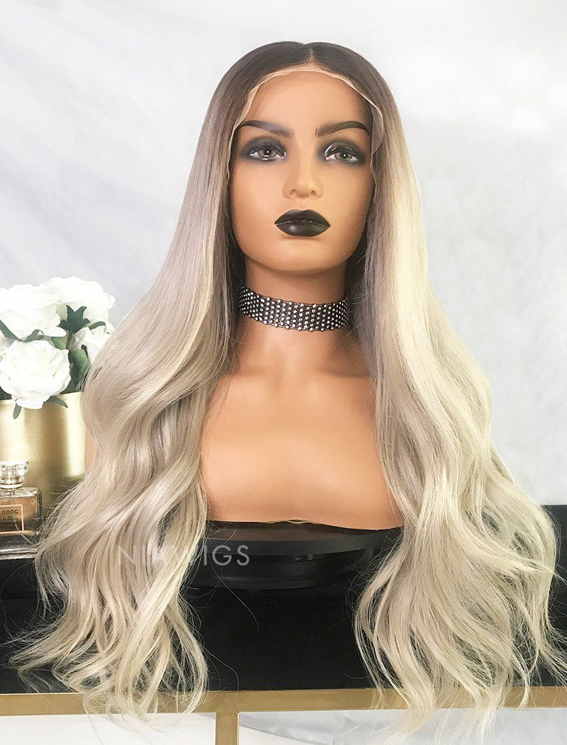 Yvette Virgin Hair Full Stretchable Wig 22 Inches Brown Roots & Silvery Grey