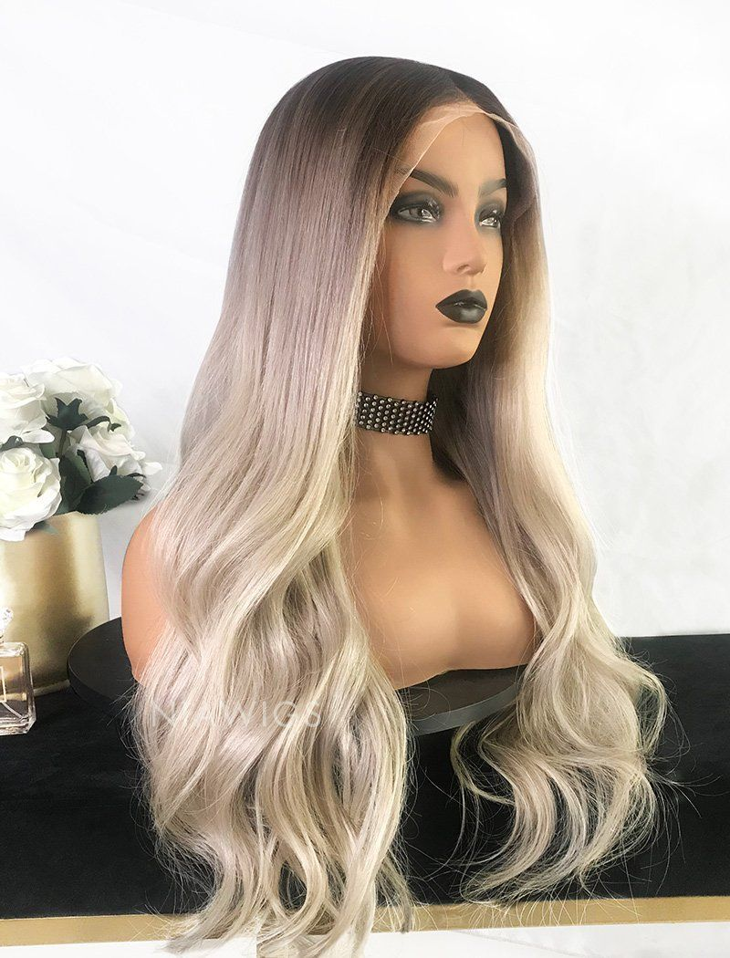 Load image into Gallery viewer, Yvette||Virgin Hair Full Stretchable Wig 22 Inches Brown Roots & Silvery Grey