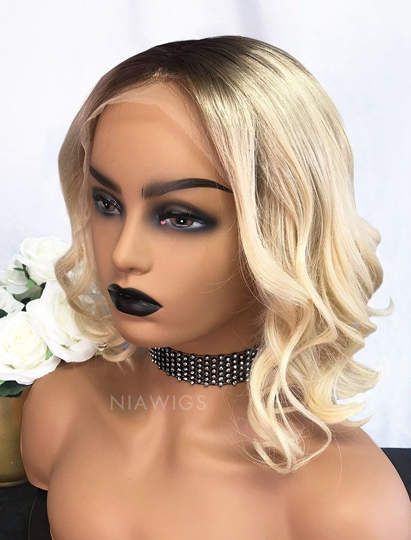 Anna Remy Hair 12 Inches Lace Front Wig Brown Roots&Honey Blonde
