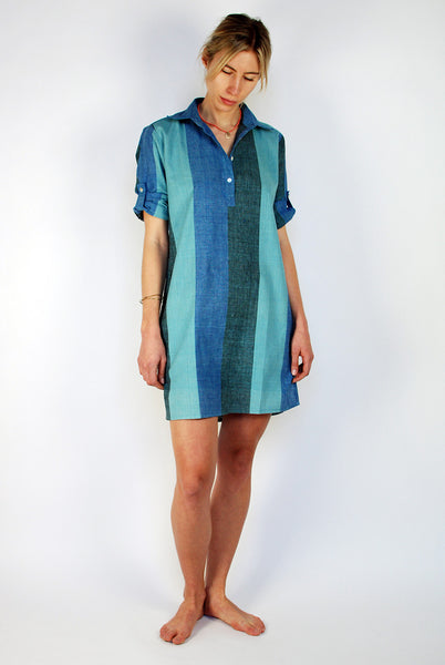 Blue stripes shirtdress