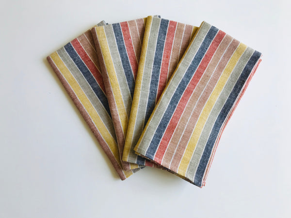 Multicolor stripes table napkins