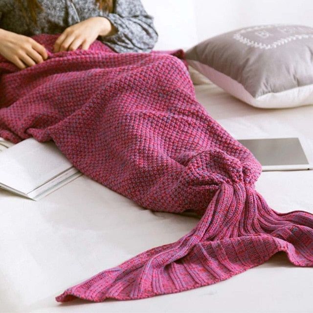The Mermaid Blanket - Hand Knitted Mermaid Tail Blanket (Multiple Sizes Available) - MermaidTailsBlanket