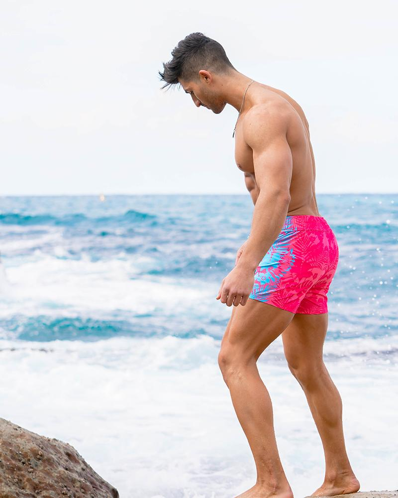 Flower Stripes Pink Swim Shorts