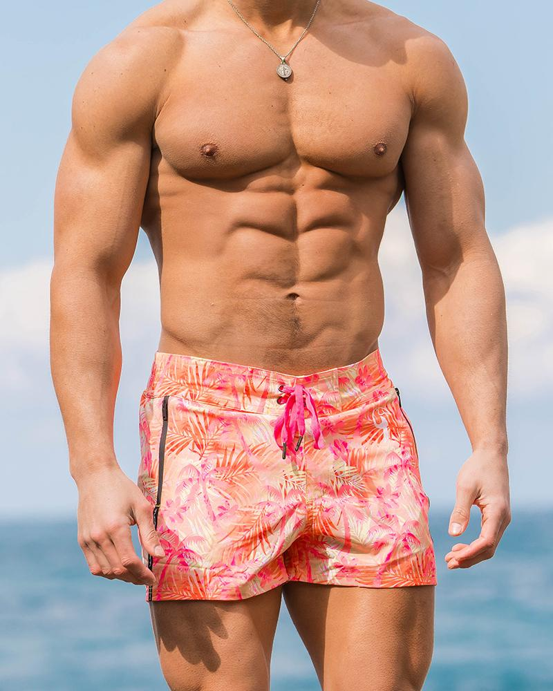 Peach Palms Swim Shorts